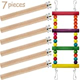 Gejoy Birds Trainning Ladder and 6 Pieces Wood Birds Cage Stand Perch for Pet Training Birds Cage Accessories