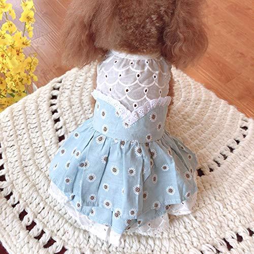 L Pet supplies Kleine Daisy Layered Skirt Haustier Hund Kleidung Frühling und Sommer Teddy Pudel Yorkshire Bomei Cat Costume @ Blue_S (Brust 34 zurück 24 ◆ ca. 4-6 - Daisy Kostüm Für Hunde