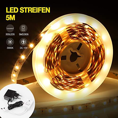 LED Strip | infinitoo 5M LED Streifen 300 LEDs Lichtband | 3000K Warmweiß LED Licht Band Leiste Lichtleiste Bänder inkl. Fernbedienung, Selbstklebend Lichterkette für Deko Party Küche Weihnachten