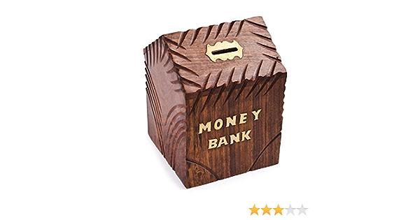tirelire de pi/èces de monnaie pour les enfants et les adultes en bois banque dargent grande main en bois d/écoration bo/îte tirelire 7,6 x 12,7 x 7,6 cm