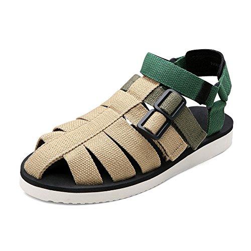 Gewebte Gürtel Sandale Strand Schuhe Mann Sommer Slipper Outdoor HOOK & LOOPSstyle (38-42 Größe) (Farbe : Beige, größe : 42) - Armee Müdigkeit Hose