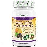 OPC 1200 mit Vitamin C - 70 vegane Kapseln - 600mg pro Kapsel - Einführungspreis -Traubenkernextrakt hochdosiert mit 1200mg pro Tagesdosierung - Vegan - 35 Tage Dauerversorung - Natürlicher Antioxidant - Vit4ever