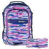 Schulrucksack Set Mädchen Teenager 2tlg Rucksack mit Stiftetui marineblau pink Bestway
