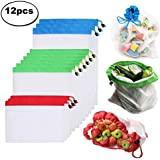 12pcs Reusable Mesh Produce Bags Washable Eco Friendly Bags for Grocery Shopping Storage Fruit Vegetable Toys (12 pcs)