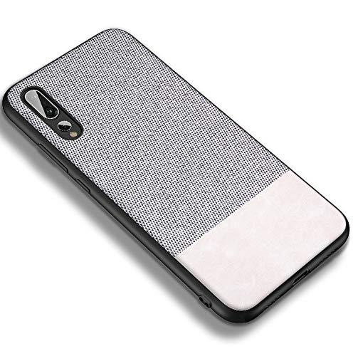 DolDer Huawei P20 Pro Schutzhülle Case Tasche Bumper aus Stoff in Leinen-Optik und Soft TPU (Weiss)