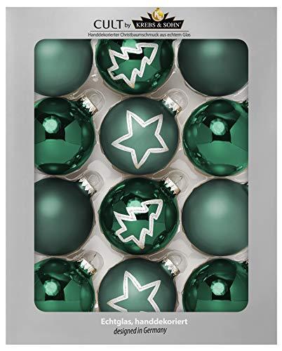 KREBS & SOHN Set Weihnachtskugeln aus Glas 8 cm - Christbaumschmuck Christbaumkugeln Weihnachtsdeko - 12-teilig, Grün, Sterne -