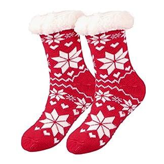 Calcetines de Navidad, Invierno Mujer Gruesos Lana Calcetines Térmicos de Piso Antideslizantes, Tejer Doble Lana Calcetines de Casa para Mujeres Chicas Regalo de Navidad Interior, Talla Unica
