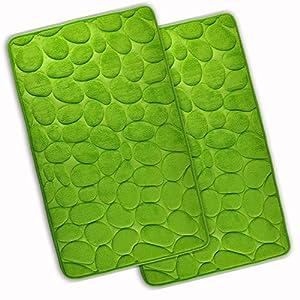 WohnDirect Set 2 teilig Badezimmerteppich mit Memory Foam - Rutschfester Badteppich - Badematte waschbar & schnelltrocknend - auch ideal als Duschvorleger - Badvorleger 50 x 80 cm - Grün