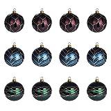 Multistore 2002 12 Stück Weihnachtskugeln Ø6cm 3 Sorten, Grün, Blau und Rot, Glaskugeln Weihnachtsbaumkugeln Christbaumkugeln Christbaumschmuck Baumschmuck Dekokugeln