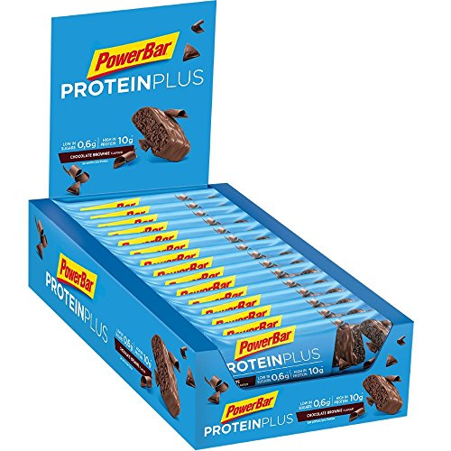 PowerBar Protein Plus Riegel mit nur 107 Kcal - Low Sugar Eiweiß-Riegel, Fitness-Riegel mit Ballaststoffen - Chocolate-Brownie (30 x 35g) (Low Brownies Carb)