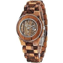 Alienwork Quartz Watch natural solid wood Wristwatch Handmade Zebrawood brown brown UM100AL-01