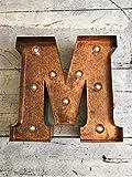 Original Way Letra con Leds M, Metal, Marrón, 20x5x20 cm