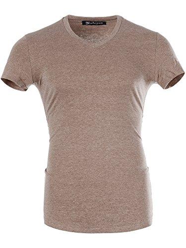 M446 ELEVEN Herren Basic Shirt T-Shirt Kurzarm V-Neck Clubwear V-Ausschnitt Coffee