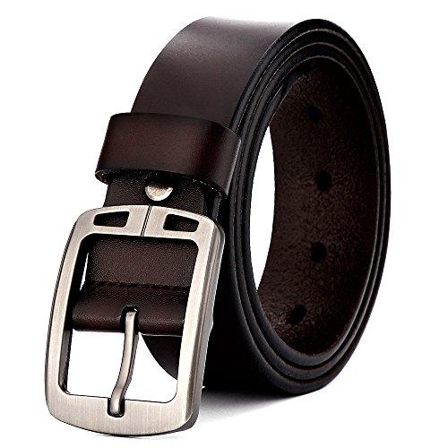 XIANGUO Herren Edel Gürtel Business Gürtel Leder Gürtel Cool Herrengürtel Jeansgürtel Metall Retro Breite Gürtel braun Medium-Large(125CM) (Braunes Schuhe Kleid)