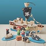 Tobar Piratenschiff aus Holz mit Anker und Segel (32 cm Lang, zehnteiliges Spielset)