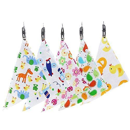 fancyus Baby Bandana Drool baberos Con Broches de presión, unisex 5-Pack absorbente algodón baberos, bebé regalo para niños y niñas