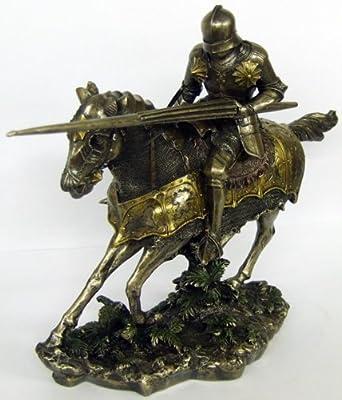 Large Resin Tournament Knight On Horseback Statue On Base