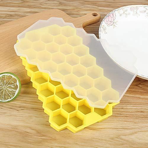 Ao Ma Shang Mao Eiswürfel mit Silicagel Wabengitter mit 37 Rastern, ideal für Gefrierschrank, Babynahrung, Wasser, Whiskey, Cocktail und andere Getränke 20.5 * 12.3 * 2.3cm gelb