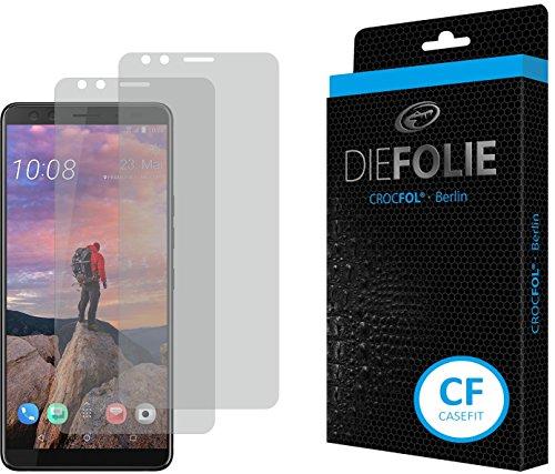 Crocfol Bildschirmschutz für HTC U12+: 2X DIEFOLIE Schutzfolie, 1x DASFLÜSSIGGLAS flüssiges Glas – Casefit Folie zur Nutzung mit Schutzhülle