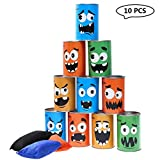 iBaseToy Tin Can Alley Garden Games - 10 Tin Cans and 3 Beanbags Included - Outdoor Garden Toys Party Games for Kids Toddler Boys