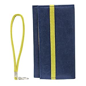 Jo Jo A5 Nillofer Leather Wallet Universal Pouch Cover Case For Nokia Asha 305 Dark Blue Parrot Green