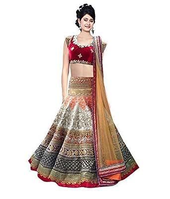 Siddeshwary Fab Women's Multi Color Heavy Bridal Wear Embroidered With Net Dupatta Designer Lehenga Choli