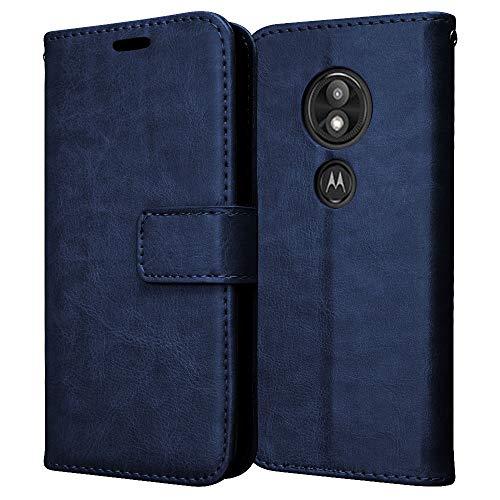 TECHGEAR Leder Hülle kompatibel mit Motorola Moto E5 Play - PU Leder Flip Case Schutzhülle Ledertasche [Brieftasche] Handyhülle mit Ständer & Handschlaufe Beutel Case - Blau