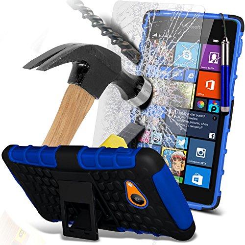 (Blau mit Pen) Microsoft Lumia 535 hülle stoßfest von Hybrid robustes Dual Layer Schwerlast Fall-Abdeckung mit Standplatz-Funktion ausgeglichenes Glas-Hartglas Displayschutz - versenkbaren Stift - Lumia 830 Nokia Fall Geldbörse