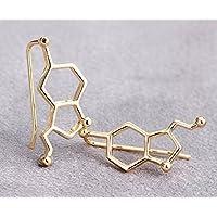Selia Serotonin Ohrring Glück Ohrstecker Glücksbringer Gold Molekül handgemacht, Modeschmuck Schmuck, minimalistisch 24