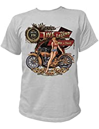 Artdiktat T-Shirt Camiseta para hombre - AMERICAN HERITAGE, LIVE THE LEGEND, RIDE A CLASSIC, MADE IN THE USA, WORLD CLASS U.S.A.