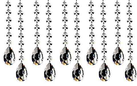 Fushing 10Pcs 30cm Crystal Teardrop Chandelier Beads Strands, Prisms Pendants Parts,Glass Chandelier Beads,Hanging Crystals for Decoration,Replacememnt Crystal for