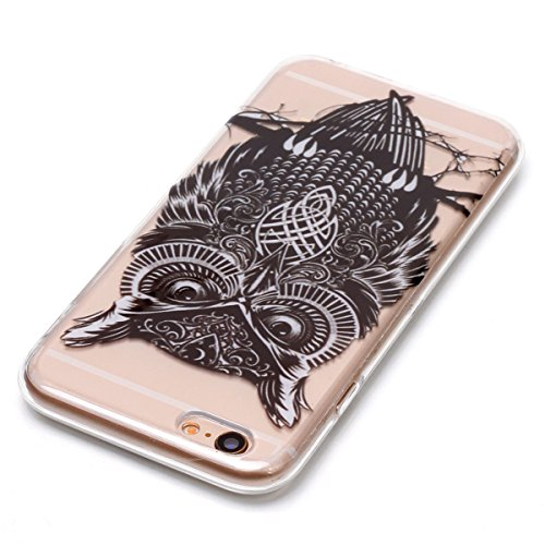 Cover iPhone 6 Plus/6S Plus, GrandEver Morbida Trasparente Ultra Slim Gel Silicone TPU Custodia Protettiva Back Shell Case per iPhone 6 Plus/6S Plus - Piuma Gufo