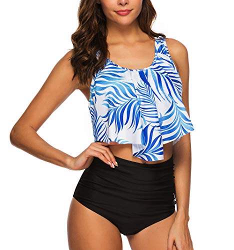 Pacrate Bikini Damen Set Geteilter Badeanzug Rüschen Zweiteilige Bademode mit Bikini High Waist Retro Hoher Taille Strandkleidung Bikinihose