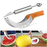 Ounona Coltello per affettare l'anguria, in acciaio inox, con scavino per melone a doppia funzione in omaggio