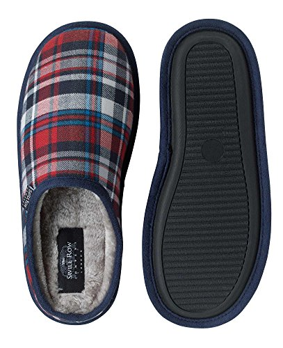 Savile Row Men's Red Navy Check Slippers Red navy