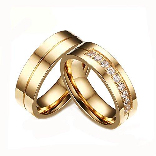 Daesar Schmuck 2 x Verlobungsringe für Damen Herren Gold Vergoldet Ring Zirkonia Weiß 6MM Damen 54(17.2) & Herren 65(20.7) Herren Weiß Gold 5mm Ehering