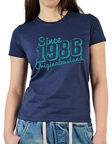 Damen T-Shirt in navyblau mit Geburtstagsmotiv - Since 1986 Originalzustand - Geschenk zum Geburtstag - Oberteil Navyblau