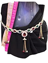 Beautiful Designer Single Piece American Diamond waist chain,kamarband, belly chain for women with pair of Multi Colour Jumaka worth 150rs free