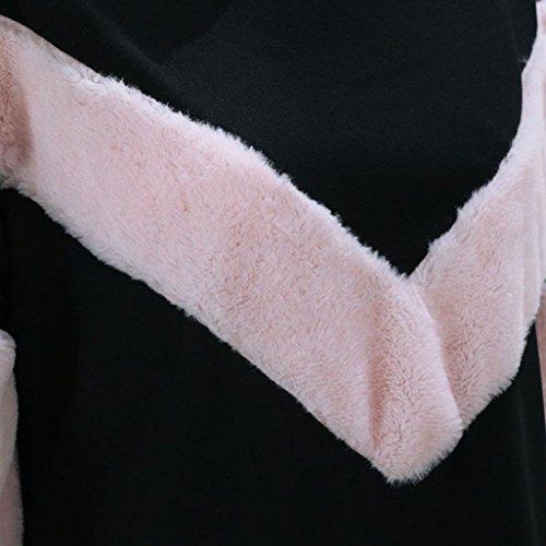 Tefamore Femmes O Neck Sweat Patchwork Cachemire à manches longues Pulls Tops Blouse Noir