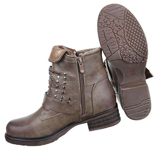 2df4922ad5631a Damen Boots Schuhe Gefütterte Stiefeletten Mit Nieten Grau Braun 36 37 38 39  40 41 Grau ...