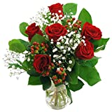 Clare Florist Romantic Flowers Heartfelt Red Roses Bouquet - 6 Gorgeous High Grade Fresh Roses