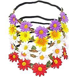 5 diademas de flores de margarita con cinta elástica para mujeres y niñas