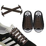 JANIRO Elastische Silikon Schnürsenkel – flexibler Schuhbänder Ersatz ohne Binden - Kinder & Erwachsene - 20 Stück - Braun