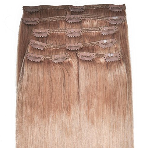 12 inch, FULL HEAD, 6pcs, Silky Soft Clip-in Hair Extensions - 100% Remy, Triple Weft, Human Hair, (100g, #14 - Strawberry Blonde)