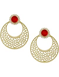 The Jewelbox Chaand Bali Filigree Antique Rhodium Plated Red Earring For Women