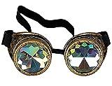 DODOING Kaleidoskop-Brille Steampunk, Goggles mit Rainbow Crystal Gläser - für Weihnachten, Halloween, Cosplay, Tanzparty, Co