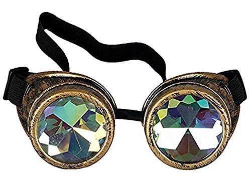 Brille Steampunk, Goggles mit Rainbow Crystal Gläser - für Weihnachten, Halloween, Cosplay, Tanzparty, Convert, Musik Festival, EDM, Light Show, Foto Stütze, Sports (Die Halloween Light Show)