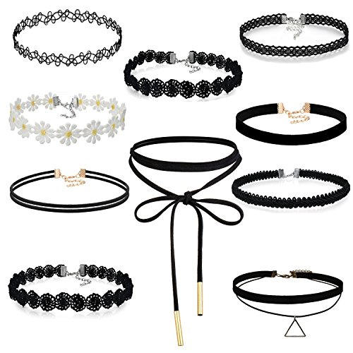 Cupimatch 10pcs Damen Choker Halskette Set, Leder schwarz Stretch samt Tattoo Spitze einstellbar Kragen Halsband, Gotik Punk Rock Lederband (Punk-rock-tattoo)