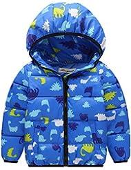 Enfants Manteau Doudounes Duvet Manteau avec capuche Blousons Hiver Manteaux pour Garçon Filles 1-6 ans Vine