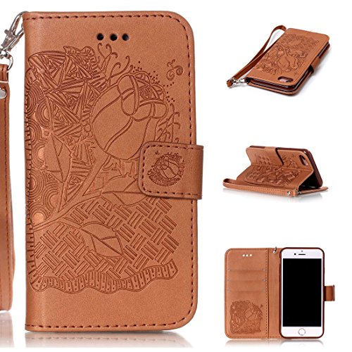iphone 7(4.7inch) Coque,Flip Coque cover PU Cuir Housse Protection Cover pour iphone 7(4.7inch)- Stand soutien/Card Slot /fermeture magnétique-Fleur d'or Brown Rose
